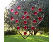 Stained Glass & Wire Panel - Red Heart