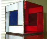 Stained Glass Candle Box - Red, White & Blue