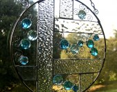 Stained Glass & Wire Panel - Blue Glass Globs