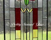 Stained Glass Panel - Craftsman - Red, Green & Purple