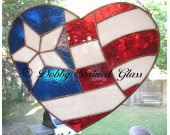 Stained Glass Panel - Red, White and Blue Heart
