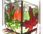 Stained Glass Candle Box - Beveled Glass with Leaves