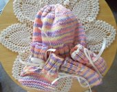 Pink and Purple Newborn Hat Set