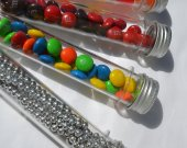 50 Clear Plastic Candy Favor Tubes w Aluminum Cap - Weddings Showers Birthdays