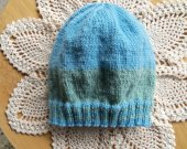 Blue and Green Newborn Wool Hat
