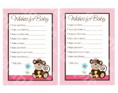 "Printable ""Melanie Monkey Girl"" Wishes for Baby Cards Digital PDF file"