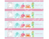 "Printable ""Under the Sea/Pink Whale"" Water Bottle Labels Instant Digital Download"