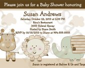 Sleepy Safari/Animals Digital Baby Shower Invitation 5x7 U Print yourself