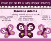 Sugar Plum Butterflies Digital Baby Shower Invitation 5x7 U Print yourself