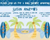 "Personalized ""Aloha Beach Baby/Surfer "" Digital Baby Shower Invitation 5x7 U Print yourself"