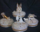 4 pc, cinderella castle slipper  carriage  and wedding couple  light cake topper  in gold