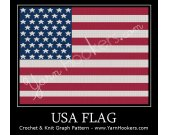 United States of America - USA - Flag - Afghan Crochet Graph Pattern Chart - PDF Download