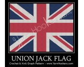 Union Jack - British Flag - UK National Flag - Afghan Crochet Graph Pattern Chart - PDF Download