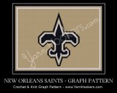 New Orleans Saints - NFL - Afghan Crochet Graph Pattern Chart - PDF Download