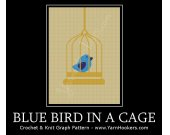 Blue Bird in a Cage - Afghan Crochet Graph Pattern Chart - PDF Download