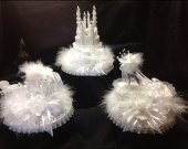 3 pc. Wedding quinceanera  cinderella castle carriage and slipper light cake topper   in  white