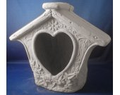 Birdhouse Chiminea with Heart Opening - Paint Your Own Ceramics