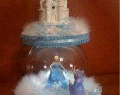Quinceanera cinderella castle light cake topper with cinderela and fairy godmother in crystal ball in baby blue