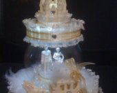 Wedding  cinderella castle carriage  light cake topper with wedding couple in crystal ball in gold
