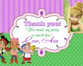 Disney Fairies and Pirates Thank You Card - Digital File - Printable