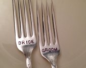 Bride and Groom Hand Stamped Silver Forks