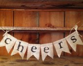 Burlap Cheers Bunting, Cheers Garland, Party Bunting, Wedding Bunting