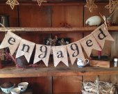 Burlap Engaged Bunting, Burlap Bunting, Wedding Bunting, Photo Prop, Engaged Bunting, Bridal Bunting, Wedding Garland, Engaged Garland