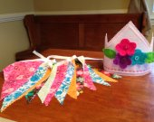 Felt Birthday Crown with Bunting, Girls Pink Crown and Pennant