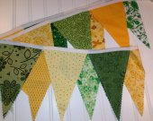 Green and Yellow Bunting, Wedding Bunting, Birthday Bunting, Fabric Bunting, Garland, Shower Bunting, Fabric Flags