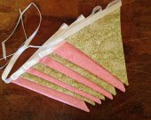 Pink and Green Bunting, Girls Bunting Banner, Pink Pennant, Girls Birthday Bunting