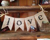 Burlap Love Bunting, Burlap Bunting, Bunting Banner, Wedding Decor, Love, Wedding Bunting, Photo Prop