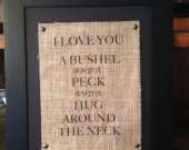 Burlap Print, Burlap Bushel and a Peck, Burlap Subway Print, Home Subway Print, Subway Print, Love Subway Print