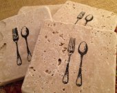 Tile Coasters, Travertine Tile Coasters, Travertine Coasters, Drink Coasters, Fork and Spoon Coasters, Wedding Gift, Birthday Gift, Rustic