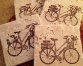 Tile Coasters, Travertine Tile Coasters, Travertine Coasters, Drink Coasters, Bicycle Coasters, Wedding Gift, Birthday Gift, Hostess Gift