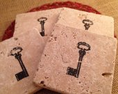 Tile Coasters, Travertine Tile Coasters, Travertine Coasters, Drink Coasters, Vintage Key Coasters, Wedding Gift, Birthday Gift, Rustic