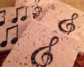 Tile Coasters, Travertine Tile Coasters, Travertine Coasters, Drink Coasters, Music Inspired Coasters, Wedding Gift, Birthday Gift, Rustic