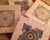 Tile Coasters, Travertine Tile Coasters, Travertine Coasters, Drink Coasters, Graphic Coasters, Wedding Gift, Birthday Gift, Rustic