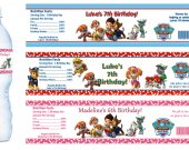 Paw Patrol Water Bottle Labels - PRINTED FOR YOU - Birthday Party Supplies Favors Baby Shower