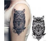 owl pattern cute girls arm temporary tattoo stickers
