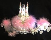 3 pc..  Wedding cinderella cadtle  carriage  light cake topper in  pink and gold