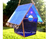 Stained Glass Birdhouse - Blue with Copper Swirls