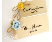 Retro, Paper Roses, Burlap Wedding Chic, Wedding Place Name Cards, Guest Signs, Table Reception
