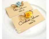 Retro, Paper Roses, Burlap Wedding, Wedding Place Name Cards, Guest Signs, Table Reception