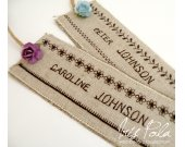 Wedding, Handmade, Sewn, Place Name Tags, Burlap, Cotton, Paper Rose, Guest Tags, Embroidery
