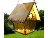 Stained Glass Birdhouse - Amber with Copper Swirls