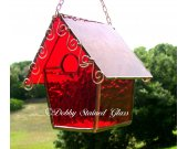 Stained Glass Birdhouse - Red with Copper Swirls