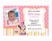 printable baby Minnie Mouse first Birthday Invitations custom photo cards