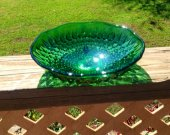 Vintage Green Depression Glass Candy Dish