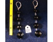 Silver earrings with black agate. Cat# 0108