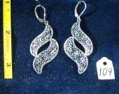 Silver open filigree earrings. Cat# 0109